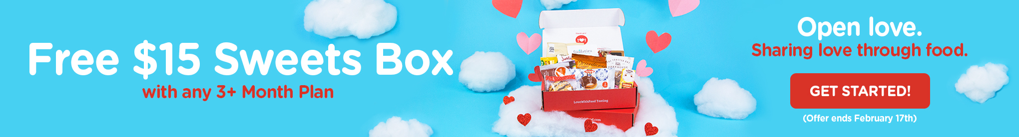 VALENTINE'S DAY SALE Get FREE Sweets Box ($15 value) with any 3-month (or longer) plan. Hurry! Offer ends 2/17/19.