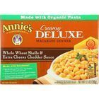 Annies Homegrown Macaroni Dinner - Creamy Deluxe - Whole Wheat Shells and Extra Cheesy Cheddar Sauce - 9.5 oz - case of 12
