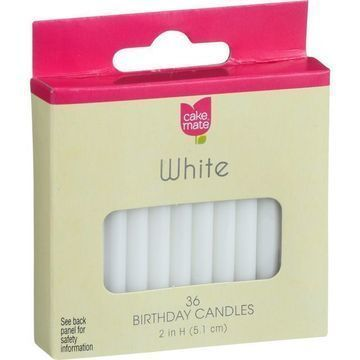 Cake Mate - Birthday Party Candles - Round - White - 2 in x 3/16 in - 36 Count - Case of 12