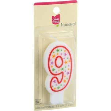 Cake Mate - Birthday Party Candle - Numeral - 9 - 3 in - 1 Count - Case of 6