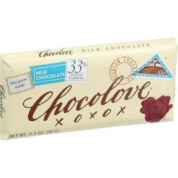 Chocolove Xoxox - Premium Chocolate Bar - Milk Chocolate - Pure - 3.2 oz Bars - Case of 12
