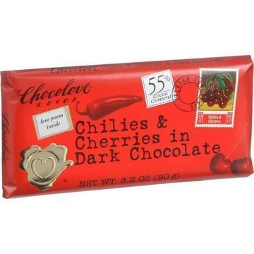 Chocolove Xoxox - Premium Chocolate Bar - Dark Chocolate - Chilies and Cherries - 3.2 oz Bars - Case of 12