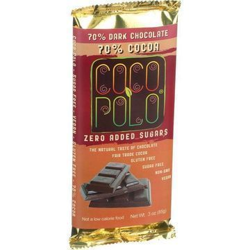 Coco Polo Chocolate Bar - 70 Percent Dark Chocolate - Case of 12 - 3 oz Bars