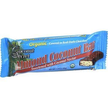 Coconut Secret Organic Chocolate Covered Coconut Bar - Almond - Case of 12 - 1.75 oz Bars