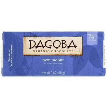 Dagoba Organic Chocolate Bar - Bittersweet Dark Chocolate - 74 Percent Cacao - New Moon - 2 oz Bars - Case of 12