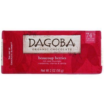 Dagoba Organic Chocolate Bar - Dark Chocolate - 74 Percent Cacao - Beaucoup Berries - 2 oz Bars - Case of 12