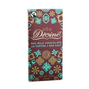 Divine Chocolate Bar - Milk Chocolate - 38 Percent Cocoa - Toffee and Sea Salt - 3.5 oz Bars - Case of 10