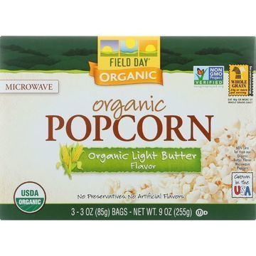 Field Day Microwave Popcorn - Organic - Light Butter - 3/3 oz - case of 12