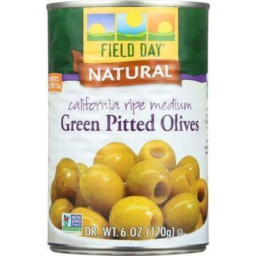 Field Day Olives - Green - Pitted - California Ripe Medium - 6 oz - case of 12