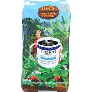 Jims Organic Coffee Coffee Beans - Organic - French Roast - Decaf - 11 oz - case of 6