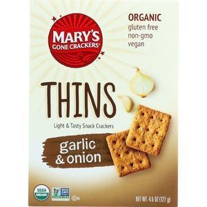 Marys Gone Crackers Crackers - Organic - Thins - Garlic and Onion - 4.5 oz - case of 6