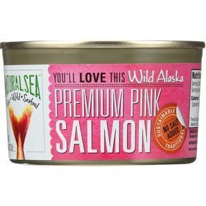 Natural Sea Wild Pink Salmon - Unsalted - Case of 12 - 7.5 oz.