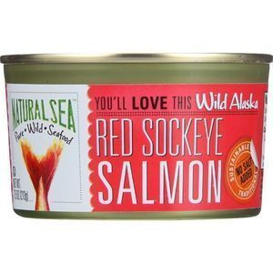 Natural Sea Wild Sockeye Salmon - Unsalted - Case of 24 - 7.5 oz.