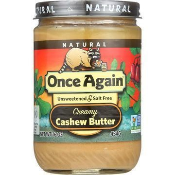 Once Again Cashew Butter - Natural - Creamy - Salt Free - 16 oz - case of 12