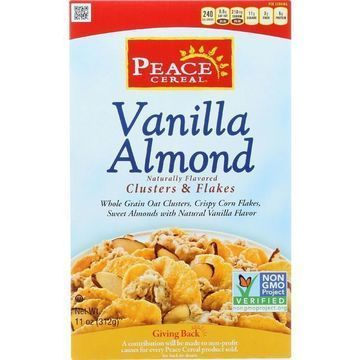 Peace Cereals Cereal - Clusters and Flakes - Vanilla Almond - 11 oz - case of 6