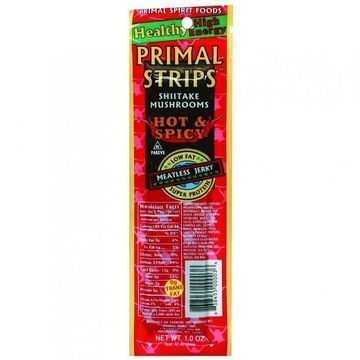 Primal Strips Vegan Jerky - Meatless - Shiitake Mushrooms - Hot and Spicy - 1 oz - Case of 24