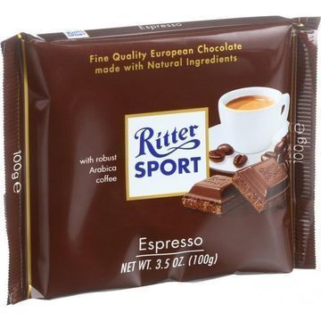 Ritter Sport Chocolate Bar - Milk Chocolate - Espresso - 3.5 oz Bars - Case of 12