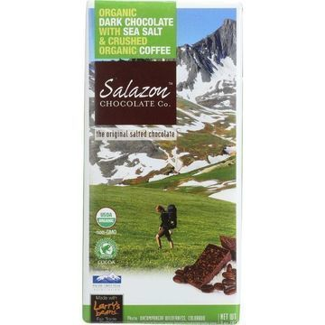 Salazon Chocolate Bar - Organic - 57 Percent Dark Chocolate - Sea Salt and Coffee - 2.75 oz - case of 12