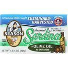 Season Brand Sardines - Skinless and Boneless - in Olive Oil - No Salt Added - 4.375 oz - case of 12