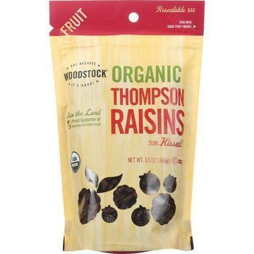 Woodstock Organic Thompson Raisins - Case of 8 - 13 oz.