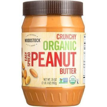 Woodstock Organic Easy Spread Peanut Butter - Crunchy - Case of 12 - 35 oz.