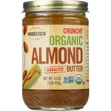 Woodstock Organic Almond Butter - Crunchy - Unsalted - Case of 12 - 16 oz.