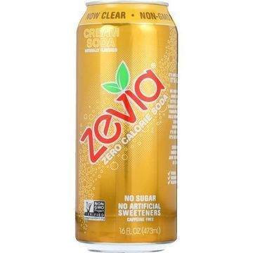 Zevia Soda - Zero Calorie - Cream Soda - Tall Girls Can - 16 oz - case of 12