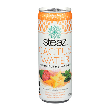 Steaz Cactus Water - Starfruit and Green Tea - Case of 12 - 12 oz.