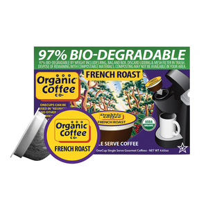 Organic Coffee Company OneCups - French Roast - Case of 6 - 4.65 oz.