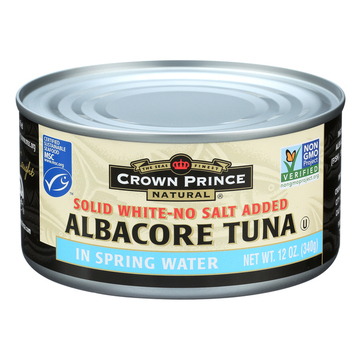 Crown Prince Albacore Tuna In Spring Water - Solid White - Case of 12 - 12 oz.