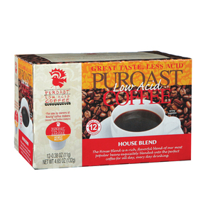 Puroast Low Acid Coffee Single Serve Cup - House Blend - Case of 6 - 12 Count