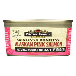 Crown Prince Skinless and Boneless Alaskan Pink Salmon - Case of 12 - 6 oz.