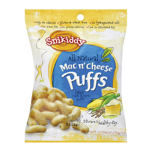 Snikiddy Snacks Baked Corn Puffs - Mac N' Cheese - Case of 72 - 0.75 oz.