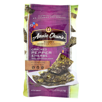 Annie Chun's Seaweed Snacks Roasted Cracked Pepper and Herbs - Case of 12 - 0.35 oz.
