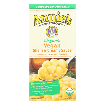 Annie's Homegrown Organic Vegan Shells and Creamy Sauce Pasta Dinner - Case of 12 - 6 oz.