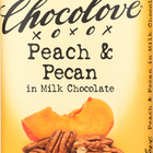 Chocolove Xoxox Premium Chocolate Bar - Milk Chocolate - Peach and Pecan - 3.1 oz Bars - Case of 12