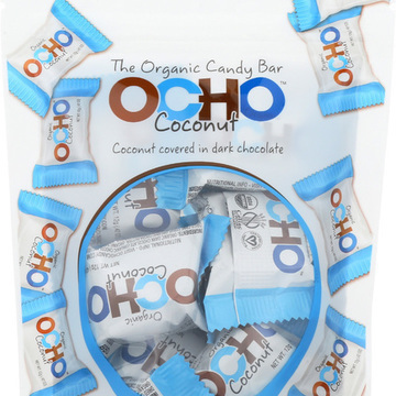Ocho Candy Ocho Bar - Coconut - Case of 12 - 3.38 oz.