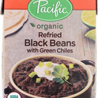 Pacific Natural Foods Refried Black Beans - Green Chilies - Case of 12 - 13.6 oz.