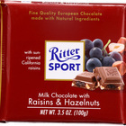 Ritter Sport Chocolate Bar - Milk Chocolate - Raisins and Hazelnuts - 3.5 oz Bars - Case of 12