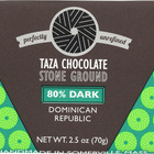 Taza Chocolate Stone Ground Organic Dark Chocolate Bar - 80 Percent Dark Dominican Republic Cacao - Case of 10 - 2.5 oz.