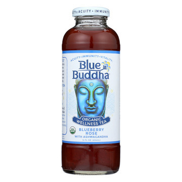 Blue Buddha - Organic Wellness Tea - Blueberry Rose with Ashwagandha - Case of 12 - 14 oz.