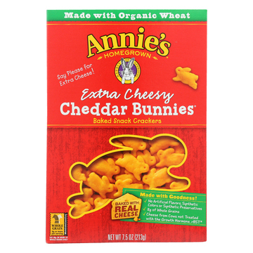 Annie's Homegrown Extra Cheesy Cheddar Bunnies - Case of 12 - 7.5 oz.