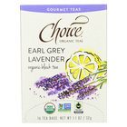 Choice Organic Gourmet Black Tea - Earl Grey Lavender - Case of 6 - 16 Count