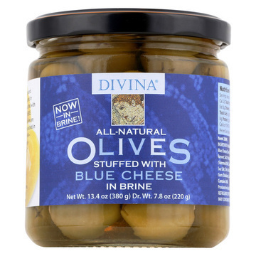 Divina Olives Stuffed with Blue Cheese - Case of 6 - 7.8 oz.