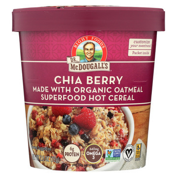 Dr. McDougall's Organic Chia Berry Superfood Hot Cereal Cup - Case of 6 - 2.5 oz.