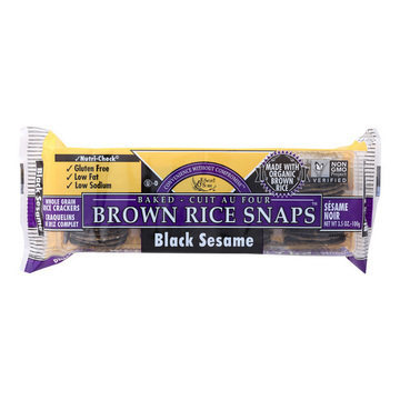 Edward and Sons Brown Rice Snaps - Black Sesame - Case of 12 - 3.5 oz.