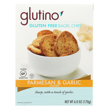 Glutino Parmesan Bagel Chips - Garlic - Case of 6 - 6 oz.