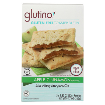 Glutino Toaster Pastry - Apple Cinnamon - Case of 6 - 9.17 oz.