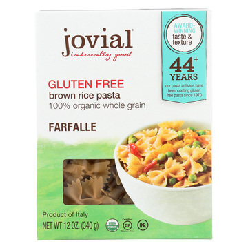 Jovial - Gluten Free Brown Rice Pasta - Farfalle - Case of 12 - 12 oz.