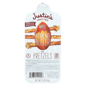 Justin's Nut Butter Snack Pack - Maple Almond Butter with Pretzels - Case of 6 - 1.3 oz.